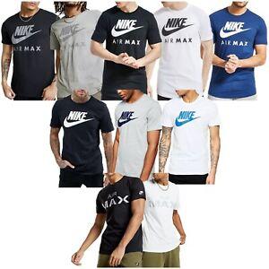 Details zu Herren Nike Air Max Rundhals T Shirt 100% Baumwolle Schwarz Blau Weiß 809247