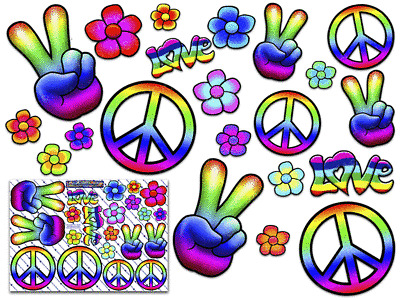 ST00007/_3 PEACE Hippy Rainbow Large FLOWER Love Pack Decal Car Stickers for Laptop Motorbikes Caravan JAS Stickers