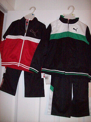 PUMA ATHLETIC OUTFIT BOYS ZIP-UP JACKET WARM UP OUTFIT BLACK//RED GREEN//BLACK NWT