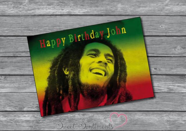 Bob Marley Rasta Personalised Birthday Or Christmas Card A5 Large