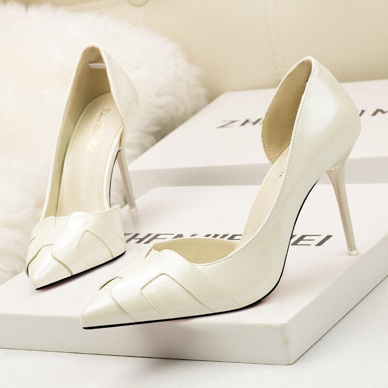 Schuhe Pumps Elegant Stilett 10 cm Weiß Glänzend Bequem Leder Kunststoff 1570