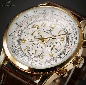 Orologio-automatico-034-AVIATOR-034-Datario-a-cronografo-Cart-185-CON-CINTURINO-NERO