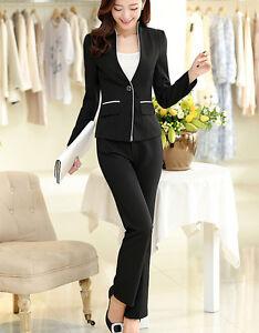 f49a37cdb8336d Caricamento dell'immagine in corso Tailleur-completo-donna-nero-riga-bianca- giacca-manica-