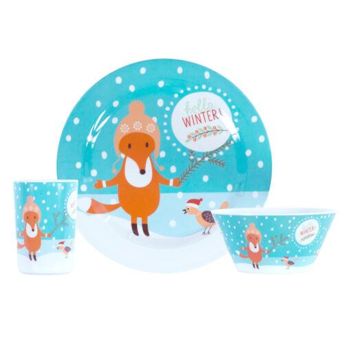 Becher Winter Weihnachten // Teller Schale Kinder Geschirr Set 3 tlg