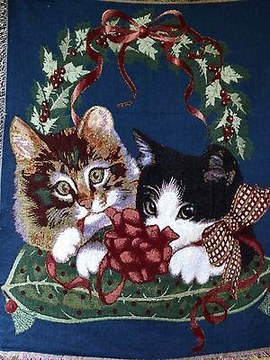 Tache 50 x 60 Dark Navy Blue Pet Kitty Cats 1st Christmas Tapestry Throw Blanket