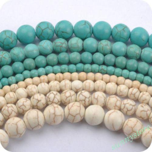 Lots Natural Gemstone Turquoise Loose Bead DIY Crafts Bracelet Necklace Making
