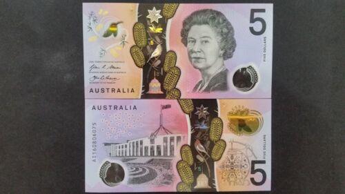 2016 AUSTRALIA $5 POLYMER BANKNOTE SUPERB GEM UNC Consecutive Numbers Prefix AF