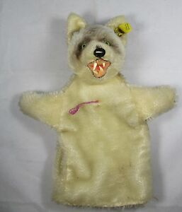 STEIFF 6860/17 adorable Punch Loopy Wolve Hand Doll Button + Flag 1968-78 VGC