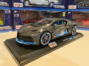Bugatti-Divo-1-18-Scale-Die-Cast-Maisto-Special-Edition-Grey-w-blue-Trim