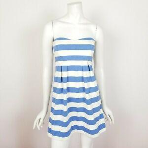 J-Crew-Size-2-Blue-White-Nautical-Striped-Woven-Strapless-Mini-Dress-New-NWT