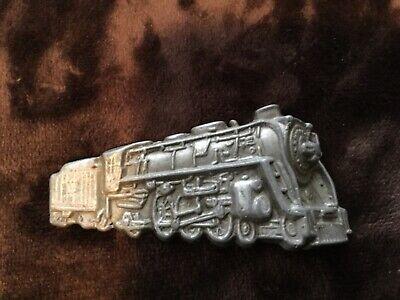 1980s Steam Train Locomotive Railroad Brass Belt Buckle Serial Number 4045 Made in USA