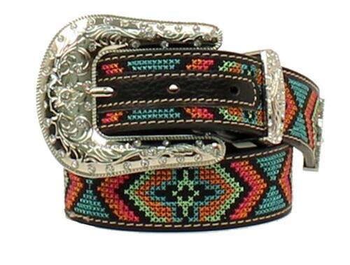 Nocona Western Girls Belt Kids Leather Stitch Design Rhinestones Multi N4436801
