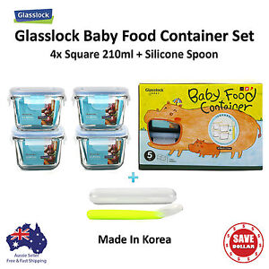 Glasslock-5P-Baby-Meal-Square-Tempered-Glass-Food-Container-Storage-Gift-Set