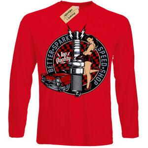 Better-Scintilla-T-Shirt-Rockabilly-Hotrod-Velocita-Negozio-Pin-Up-Uomo-Manica