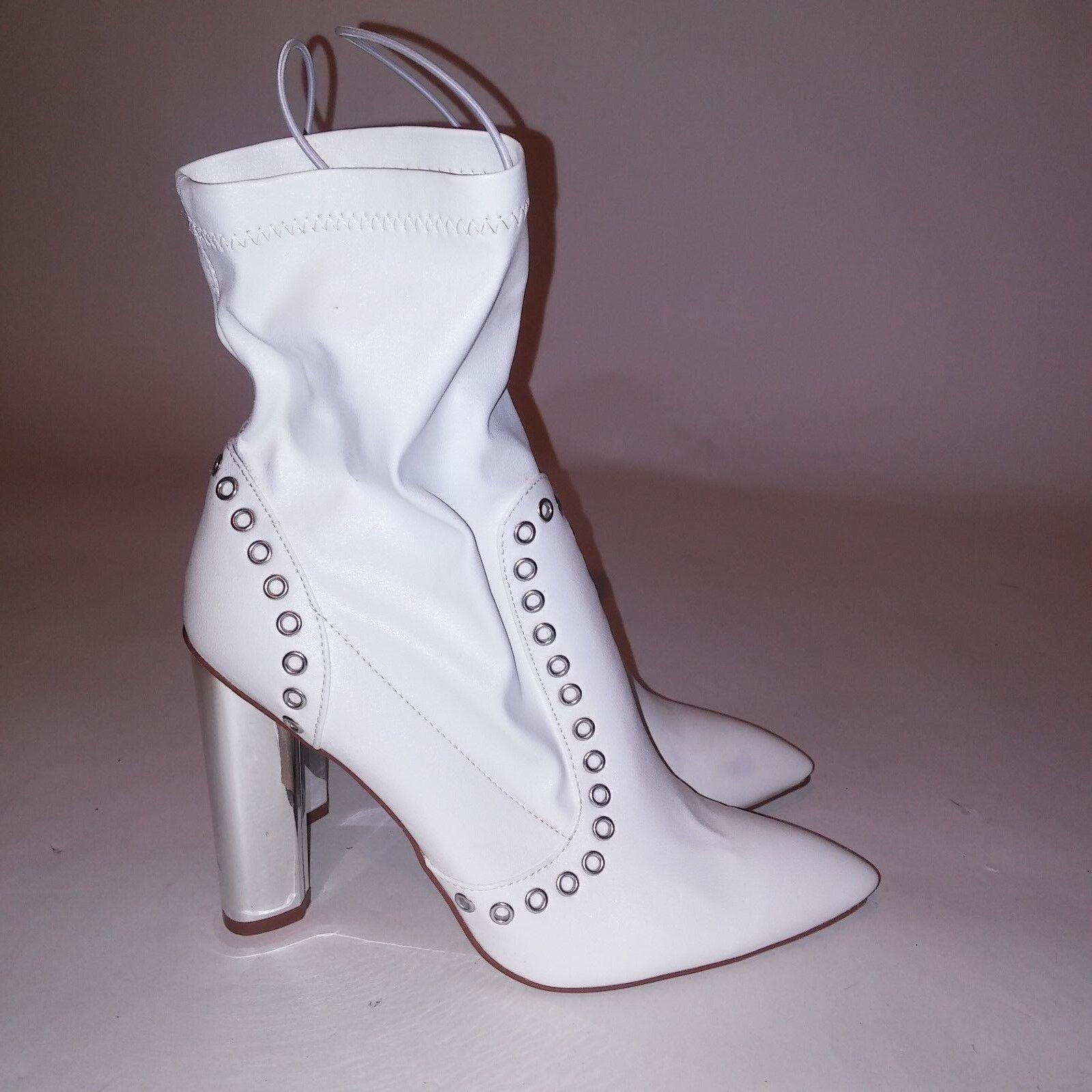 Wild Diva White Booties Block Mirror Heel Pointed Toe Heel 3.5