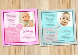 Girl Boy Joint Christening First Birthday Invitations Cards