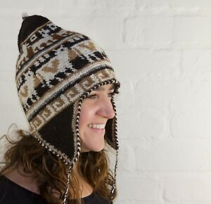 Alpaca Crochet Adult Chullo Hat With Earflaps Handmade In Bolivia
