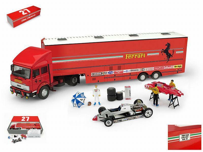 Ferrari Race Transporter Set Plus 1982 Fiat Iveco Truck 1xFerr 1 43 BRUMM TS05P