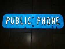 Authentic Old Metal Sign TELEPHONE Public Pay Coin Vintage Real Phone Booth Blue
