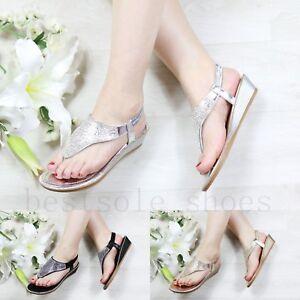 Senoras-Mujer-Zapatos-De-Tacon-Cuna-Sandalias-Diamante-Correa-Elastica-De-Playa-De-Verano-Zapatos