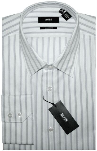 NEW HUGO BOSS SATIN WHITE w SILVER GRAY STRIPES DRESS SHIRT 16 34/35
