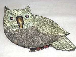 Owl-Metal-Art-Hand-Painted-Brass-Trinket-Tray-Plate-Jewelry-Rings-India-Unique