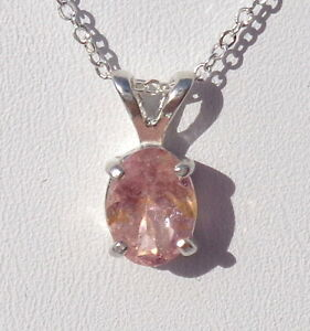 .87ct Natural Pink Tourmaline .925 Sterling Silver Gemstone Pendant 18 Necklace