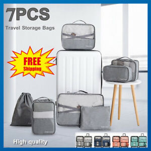 6-7PCS-Packing-Cubes-Luggage-Storage-Organiser-Travel-Compression-Suitcase-Bags