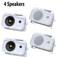 Qty 4 Pyle Plmr26 5 500 Watt 3-way Weatherproof Mini Box Speakers (white) on sale
