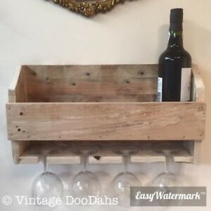 Rustic Reclaimed Pallet Wooden Wine Rack Glass Holder The Prefect