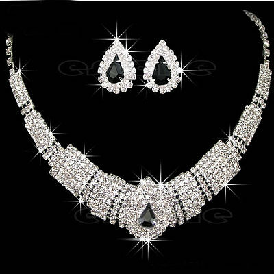 ELEGANT WEDDING BRIDAL DIAMANTE CRYSTAL NECKLACE EARRINGS SET JEWELRY PROM