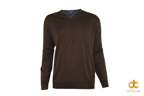 Brown 2xl Gant 3xl V Wool Oversized Mens Merino Sweater Neck q0rpB0YW