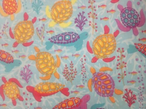 Camelot Turtles on aqua blue sea fish shell coral FQ 100/% cotton free P/&P
