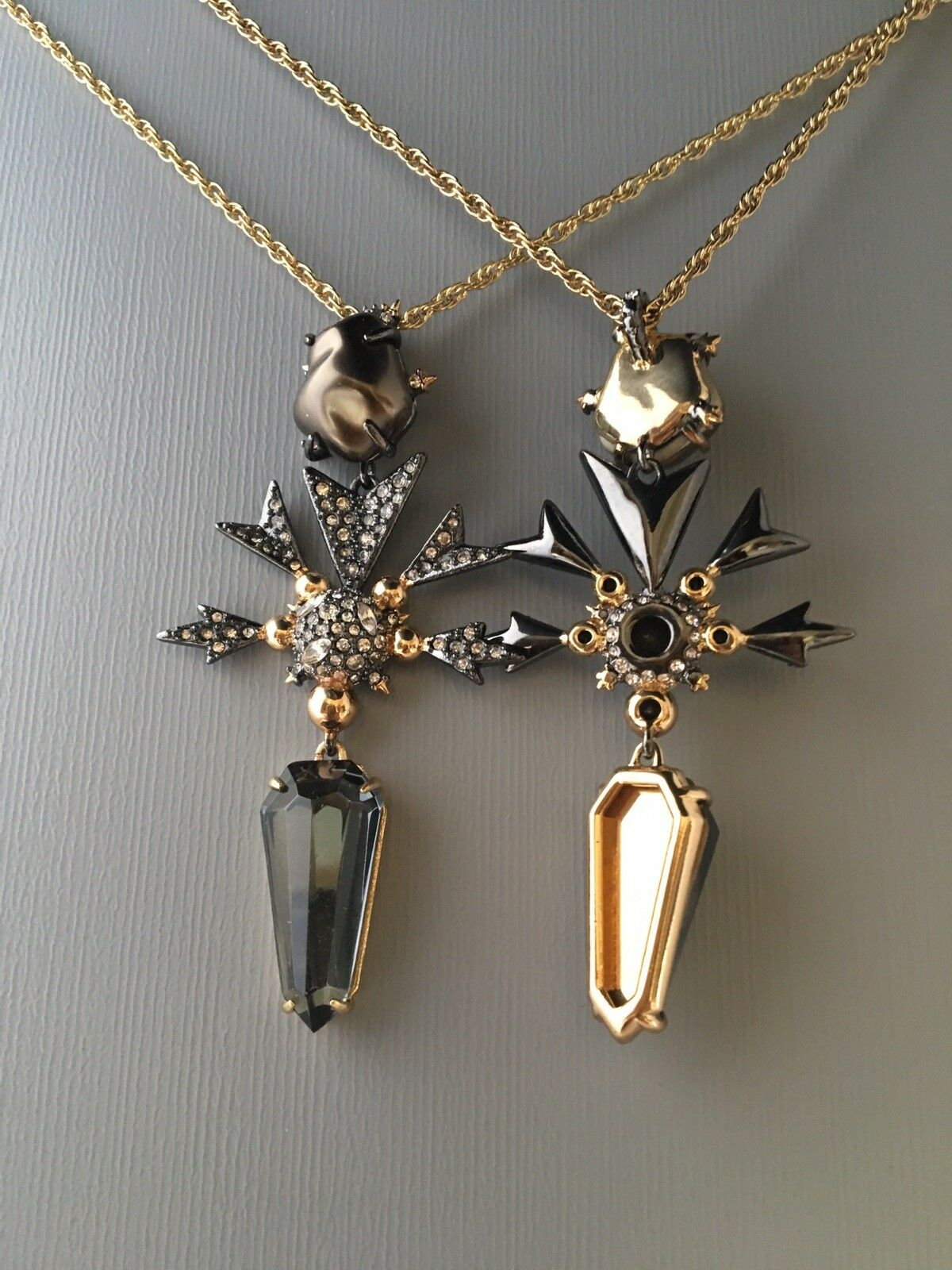 Alexis Bittar Reversible Pearl Hematite Crystal Snowflake Pendant Necklace New