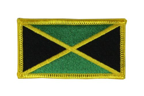 Jamaica Flag Embroidered Woven Iron On// Sew On Badge Patch 8x4.5cm