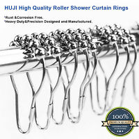 High Quality Heavy Duty Roller Shower Curtain Rings, Polished Chrome Set Of 12