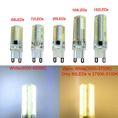 1x//10x G9 Dimmable 152 3014SMD LED Light Bulb Silicone Crystal Lamp White//Warm