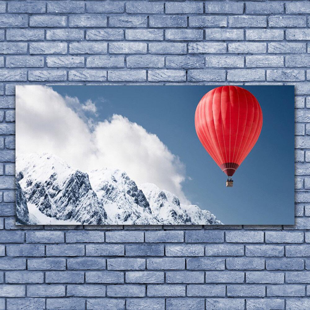 Acrylic print Wall art 140x70 Image Picture Hot Air Ballon Mountain Snow Art