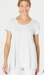 NEW-PURE-J-JILL-L-XL-Scoop-neck-Elliptical-Tee-Pima-Cotton-White