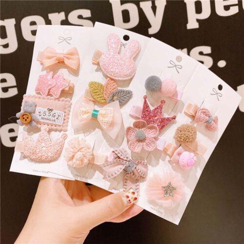 Baby Hair Accessories Girls Bow Star Crown Hairpin Pink Set Cute Hair Clip