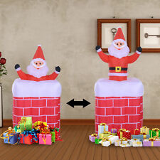 6ft Inflatable Santa Claus Rising in Chimney Christmas Lighted Yard Decoration