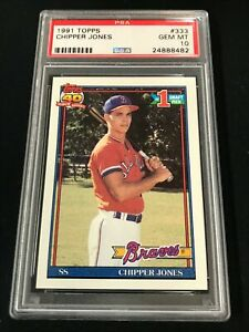 1991 Topps #333 CHIPPER JONES Rookie RC PSA 10 Atlanta Braves HOF ~SC3-482