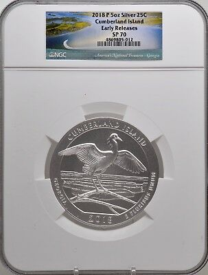 2018-P 5oz SILVER 25C Cumberland Island NGC SP 70 Early Releases must see!