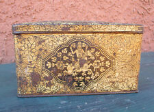 Vintage Lord Krishna Gold / Black Metal Tin Container Box W/ Attached Lid