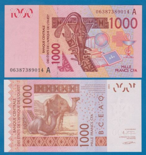 """UNC /""""A/"""" Ivory Coast 115 A d West African States 1000 Francs P 115Ad 2006 2003"""