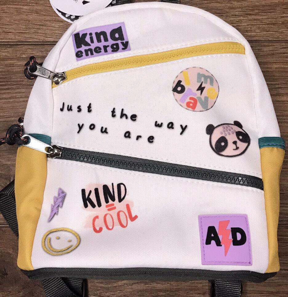 ALESHA DIXON DESIGNER VEGAN white slogan detail rucksack backpack kids NEW