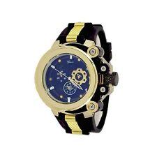 Gold Black Fashion Mens Designer Geneva Silicone Sports Band Watch Oversized