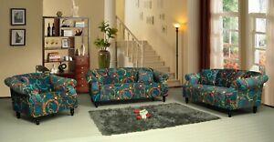 0cccfbef14 Image is loading Patchwork-Fabric-Sofa-Suite-Set-Sofas-BELLINI-RANGE-