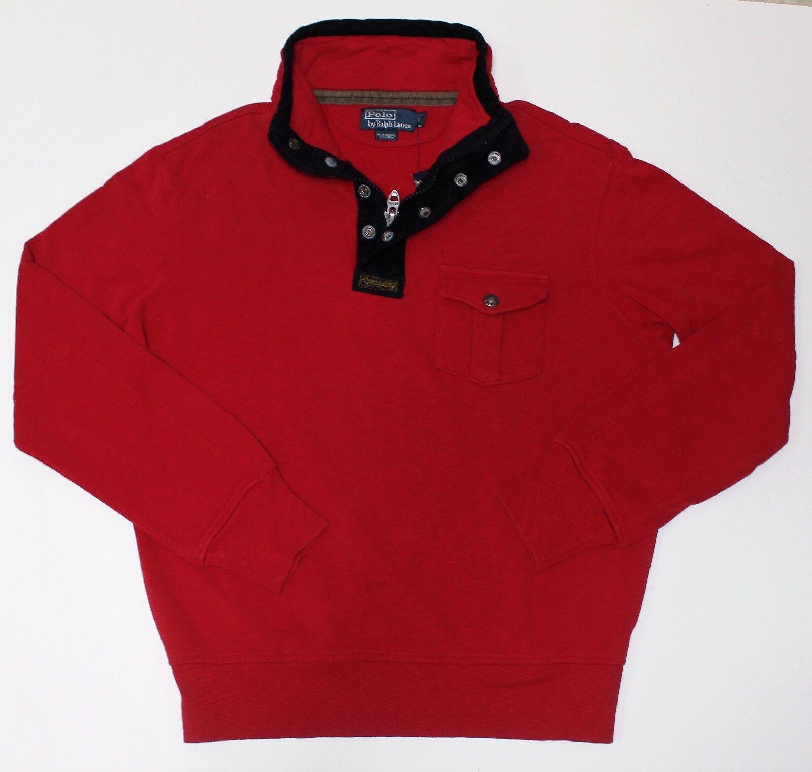 New Ralph Lauren ROT Cotton Half Zip Snap Pullover / Large