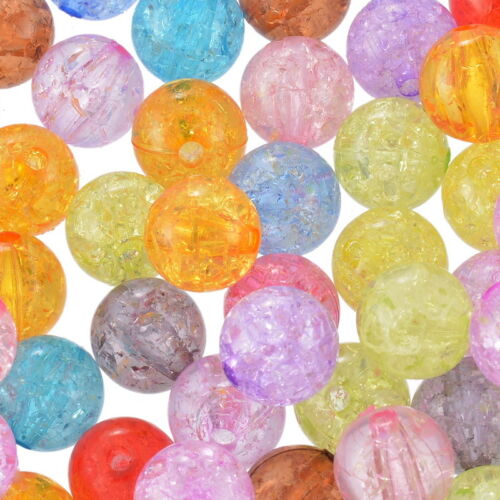 50 Mix Klar Acryl Krackle Spacer Perlen Beads Basteln 12mm